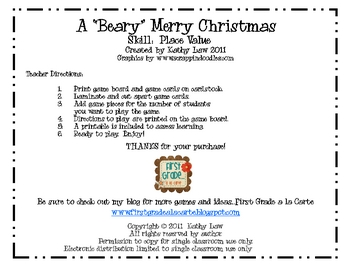"""A """"Beary"""" Merry Christmas--Place Value Game"""