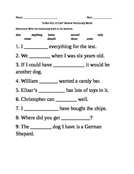 A Bed Full of Cats Vocabulary Review Sheet Harcourt Trophies 1st grade
