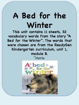 ReadyGen A Bed for the Winter Vocabulary Kindergarten Unit 1 Module B
