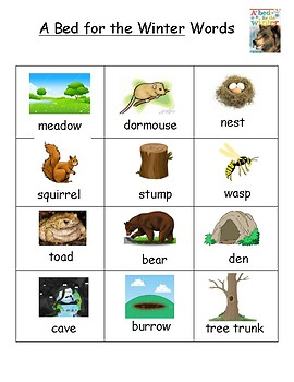 A Bed for the Winter Vocabulary Word List