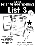 A Beka 1st Grade Spelling Packet LIST 3