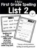 A Beka 1st Grade Spelling Packet List 2