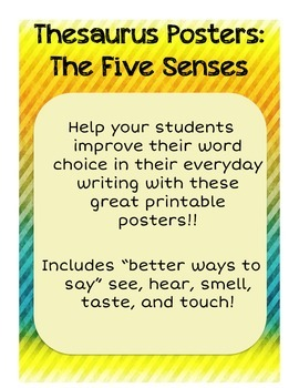 """A Better Way To Say"": 5 Senses Thesaurus Posters - Grunge Theme"