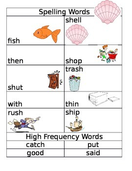 A Big Fish for Max Spelling Words