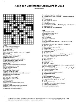 "A Big Ten Conference Crossword Puzzle, 2014, some ""sporting"" vocabulary practice"