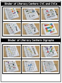 A Binder of Literacy and Math Centers BUNDLED