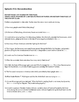 A Biography of America: Episode 12 Worksheet for the free online video series