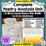 Poetry Task Cards A Bird Came Down the Walk by Emily Dickinson  Poetry Analysis