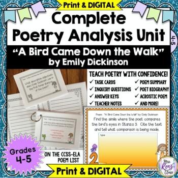 a bird came down the walk poem analysis