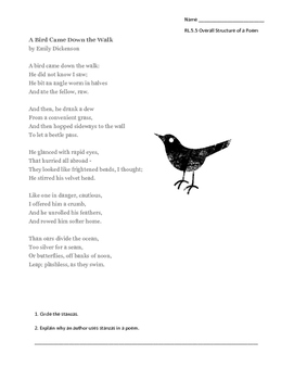 A Bird Came Down the Walk by Emily Dickenson: Overall Structure of a Poem RL.5.5