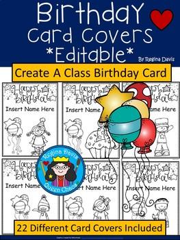a birthday card covers editable by regina davis tpt