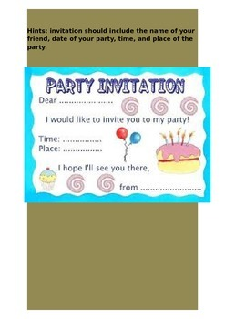 A Birthday Party Picture Comprehension