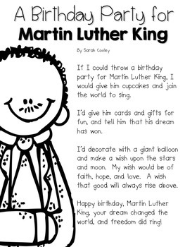 Martin Luther King Jr A Birthday Party Kit For Little Learners