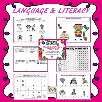 Birthday Party-Themed Unit: Articulation, Concepts, Language & Literacy