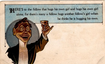 A Black American stereotype cartoon postcard. From 1909. For Class Discussion