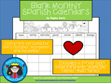 A+ Blank Monthly Spanish Calendars