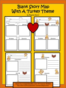A+ Blank Story Maps With A Turkey Theme