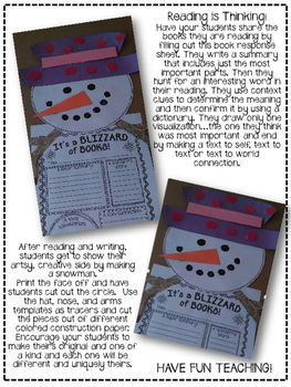 A Blizzard of Books: A Winter Snowman Book Report and Craft