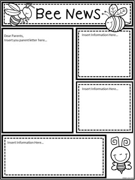 A+ Bee or Hornet *EDITABLE* Papers...Teacher News & Notes To Parents