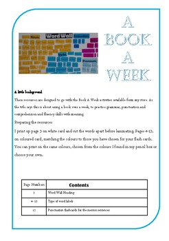 A Book A Week- word wall labels