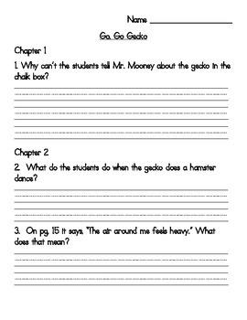 Book Club Comprehension Packet for Go, Go Gecko