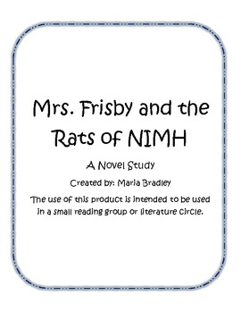A Book Study for Mrs. Frisby and the Rats of NIMH