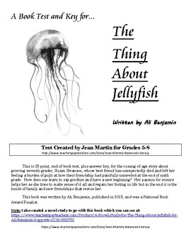 A Book Test and Answer Key for The Thing About Jellyfish by Ali Benjamin