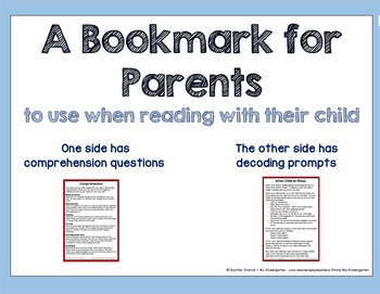 A Bookmark for Parents ~ to use when reading with their child