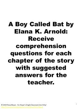 A Boy Called Bat Book Companion Teacher Copy Google Slides