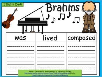 A+  Brahms ... Three Graphic Organizers