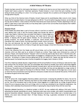 A Brief History Of Theatre - Reading Comprehension Worksheet / Text