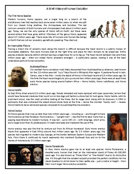 A Brief History of Human Evolution - Reading Comprehension Text