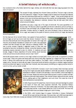 A Brief History of Witchcraft - Halloween Reading Comprehension Text