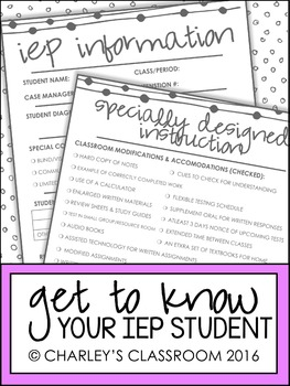 A Brief Look Into Your Student's IEP | Middle School/High School Version