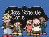 A Bright, Rainbow, Chalkboard Class Schedule Cards featuri