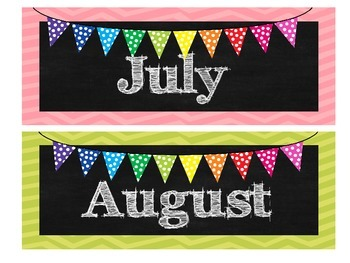 A Bright Rainbow Chalkboard Months of the Year set