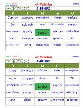 A Brilliant -  I-BINGO – Air Pollution - IBES010 Interactive BINGO