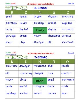 A Brilliant -  I-BINGO – Archeology and Architecture-  Interactive BINGO