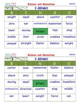 A Brilliant -  I-BINGO – Balance and Momentum - Interactive BINGO