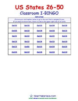A Brilliant - I-BINGO – Part 2 - Capitals on Cards - States 26-50