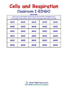 A Brilliant - I-BINGO – Cells and Respiration - LS008 Interactive BINGO