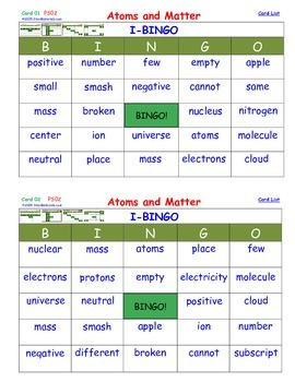 A Brilliant - I-BINGO – Chemistry - Atoms and Matter - IBP