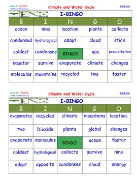 A Brilliant -  I-BINGO – Climate and Water Cycle - Interactive BINGO