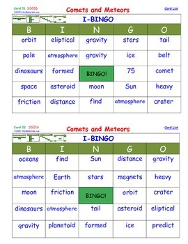A Brilliant -  I-BINGO – Comets and Meteors - Interactive BINGO