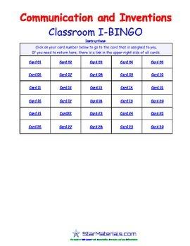 A Brilliant -  I-BINGO – Communication and Inventions - Interactive BINGO