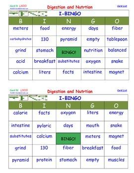 A Brilliant - I-BINGO – Digestion and Nutrition - LS010 Interactive BINGO