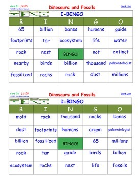A Brilliant -  I-BINGO – Dinosaurs and Fossils - Interactive BINGO