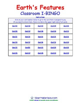 A Brilliant -  I-BINGO – Earth Features - IBES009 Interactive BINGO