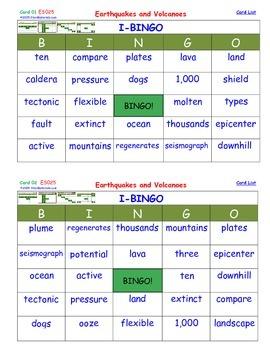 A Brilliant -  I-BINGO – Earthquakes and Volcanoes - Interactive BINGO