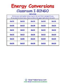 A Brilliant - I-BINGO – Energy Conversion - IBPS014 Interactive BINGO